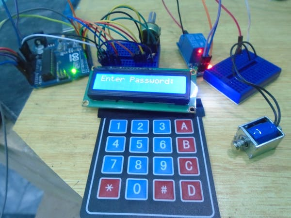 Arduino keyless door lock system with keypad and lcd