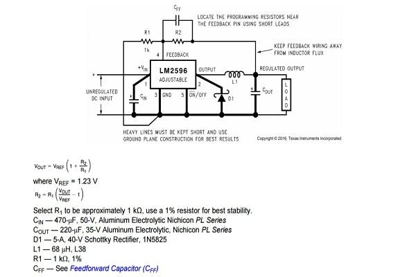 Equation for adjustable output from datasheet of LM2596