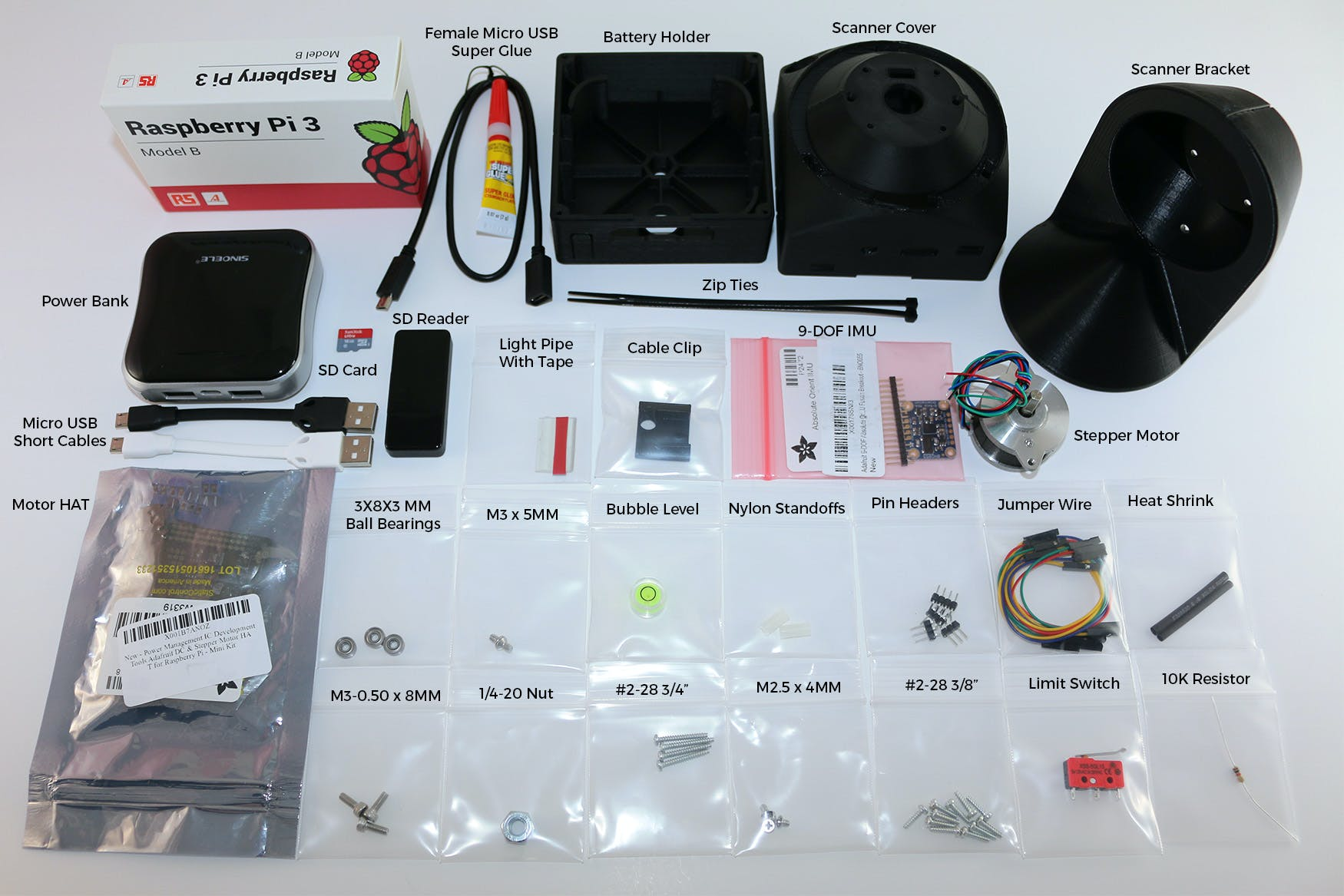 Sweep 3D Scanner Kit Contents