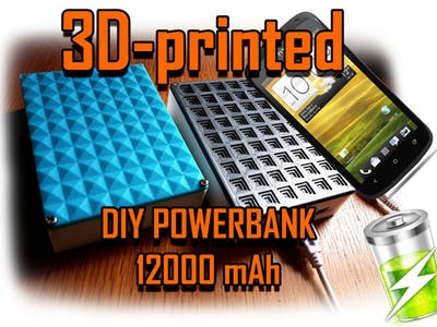 Powerbank DIY 12000-16000 MAh 2.1 Amp 3D-printed With LED...