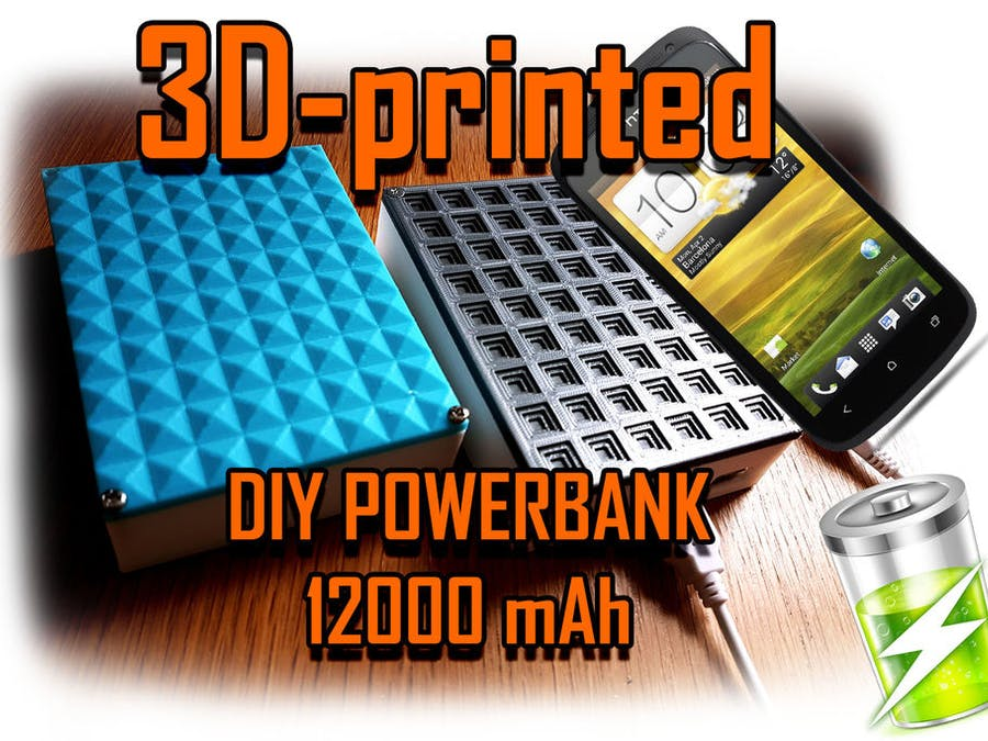 Powerbank DIY 12000-16000 MAh 2.1 Amp 3D-printed With LED...