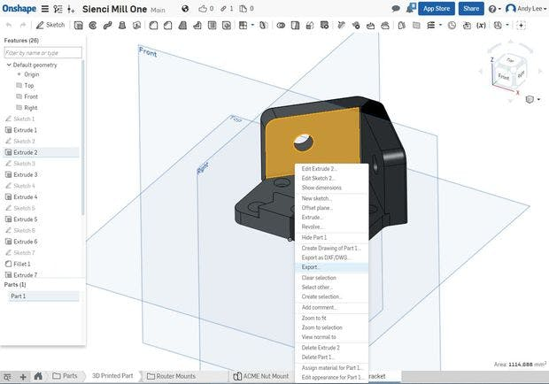 Exporting a part to STL on Onshape