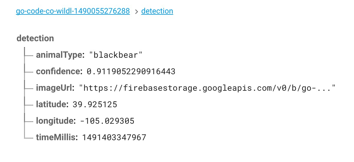 Results for detection saved on Firebase