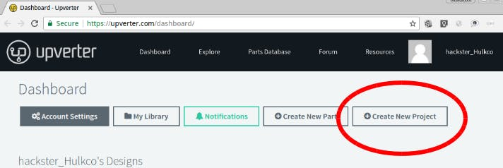 Click the Create new project button