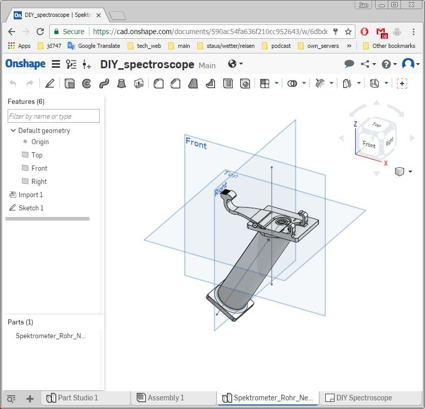 DIY Spectroscope project in Onshape CAD tool