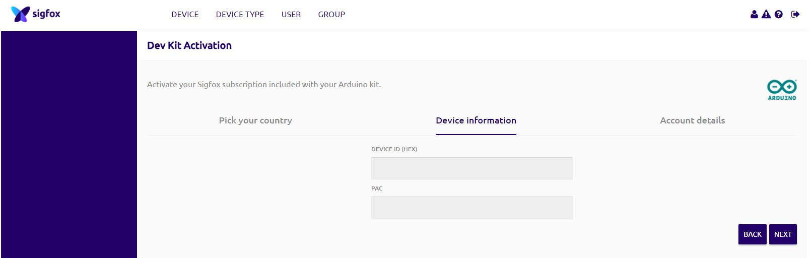 Device (Arduino) activation page after logging in