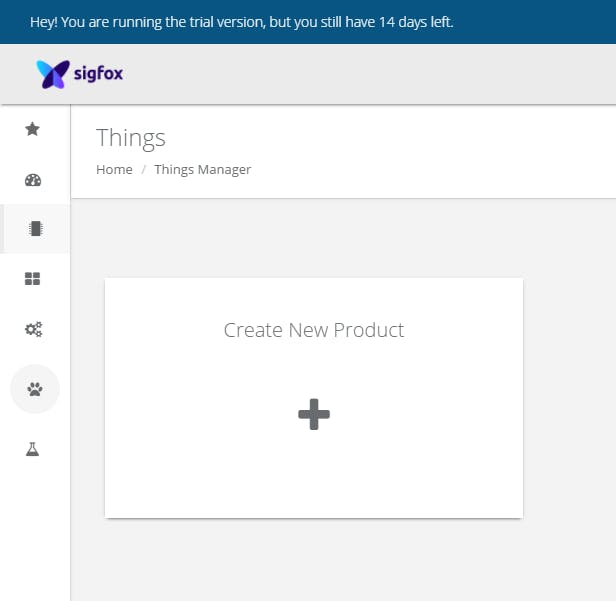 Add a new product after signing in sigfox.thethings.io
