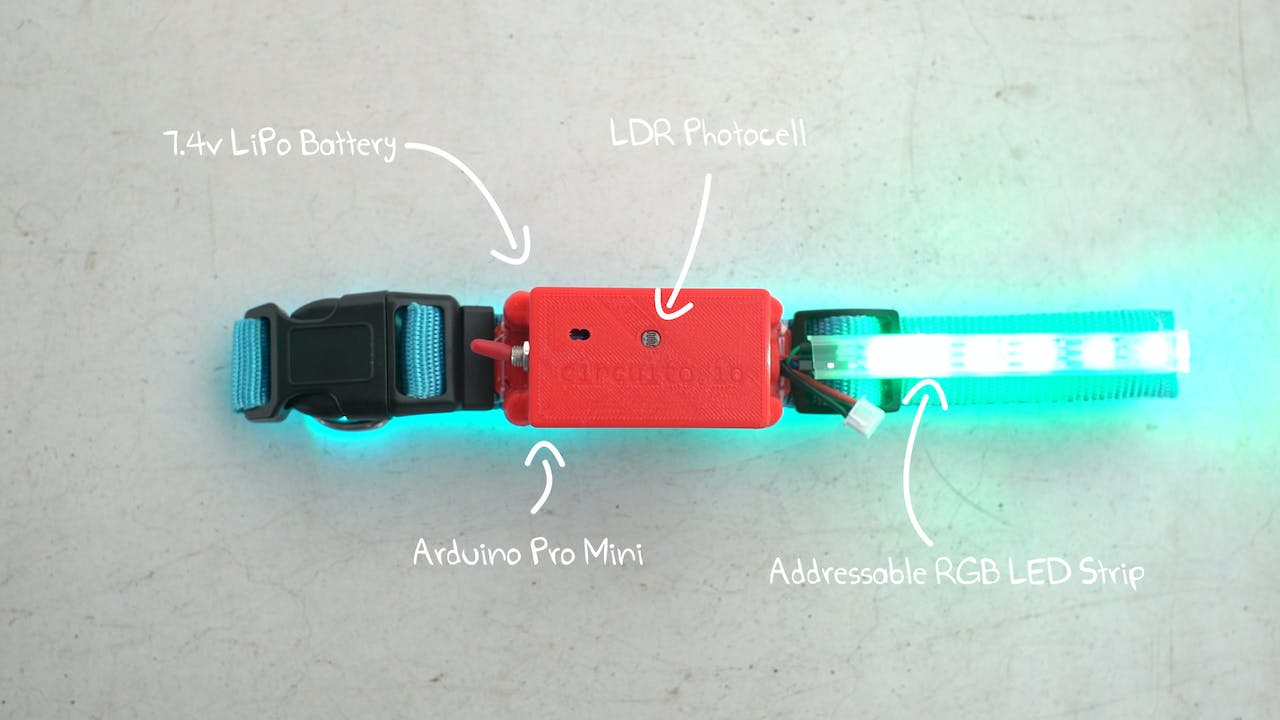 Ledog Collar Heartbeat Monitor Circuit With Led And Photocell