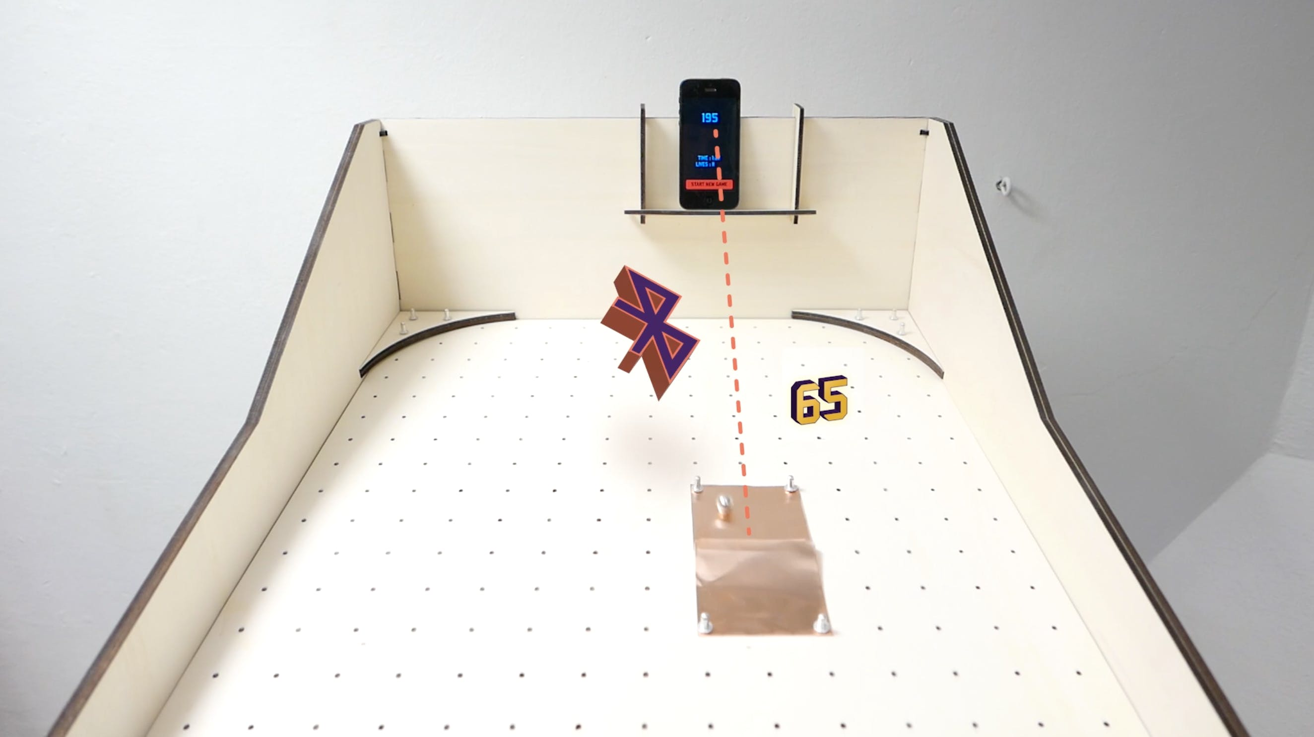 The ball connects the two copper foils and sends the signal over the microcontroller to the smartphone.