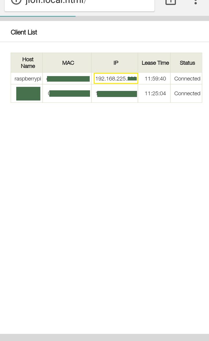Hotspot configuration page