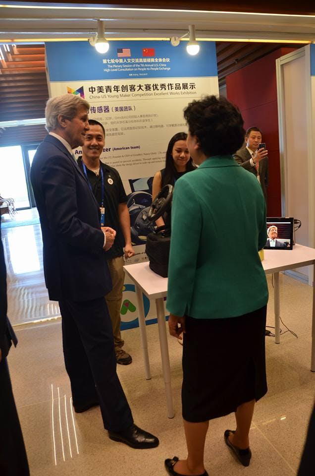 Secretary of State John Kerry seeing the demo