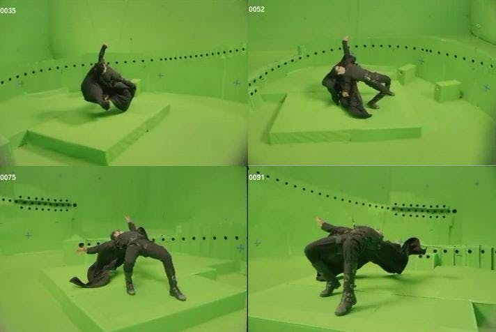 The Matrix bullet time effect camera setup and green screen