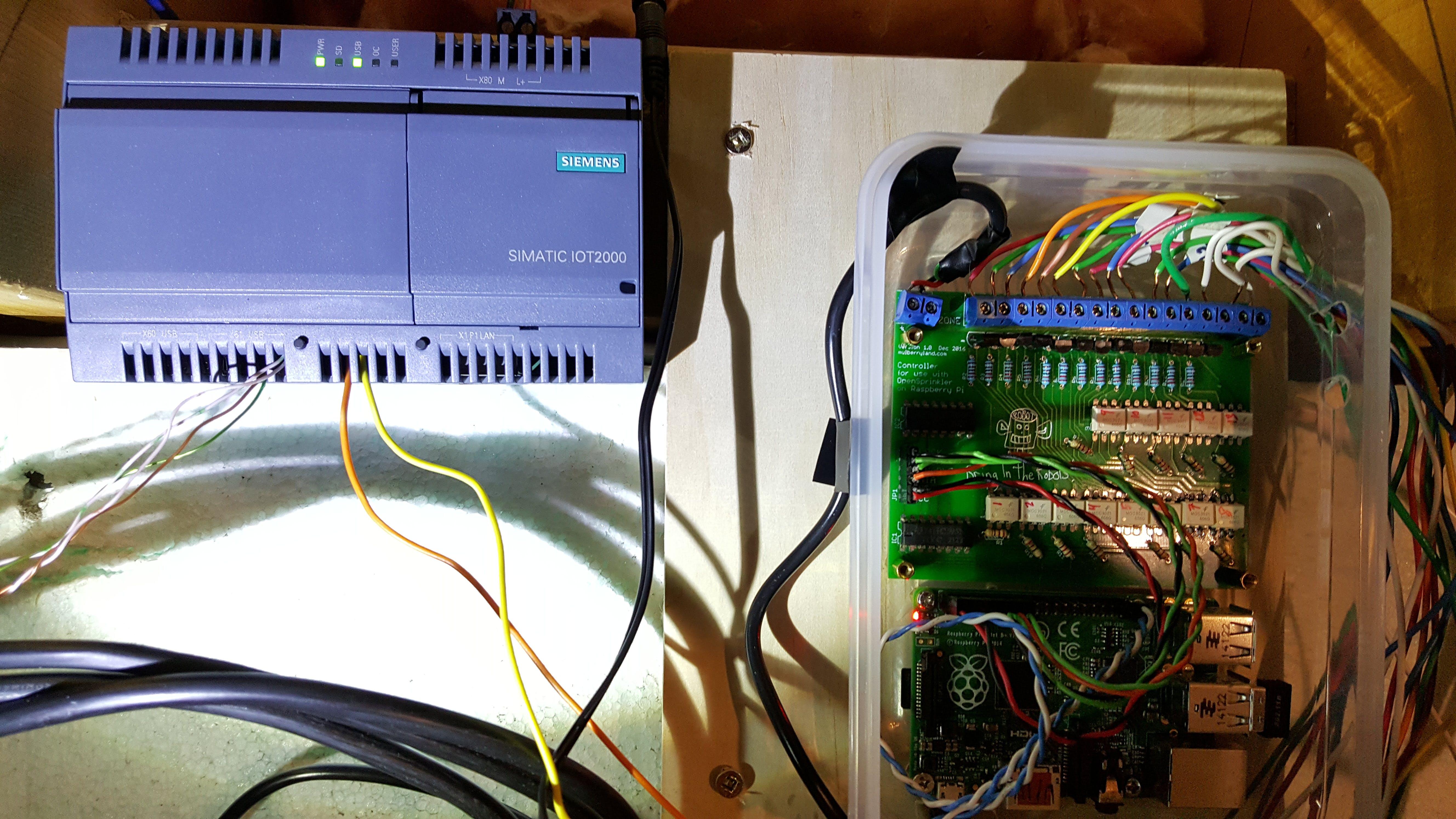 The IOT2020 installed beside my sprinkler system (home-built OpenSprinkler-Pi)