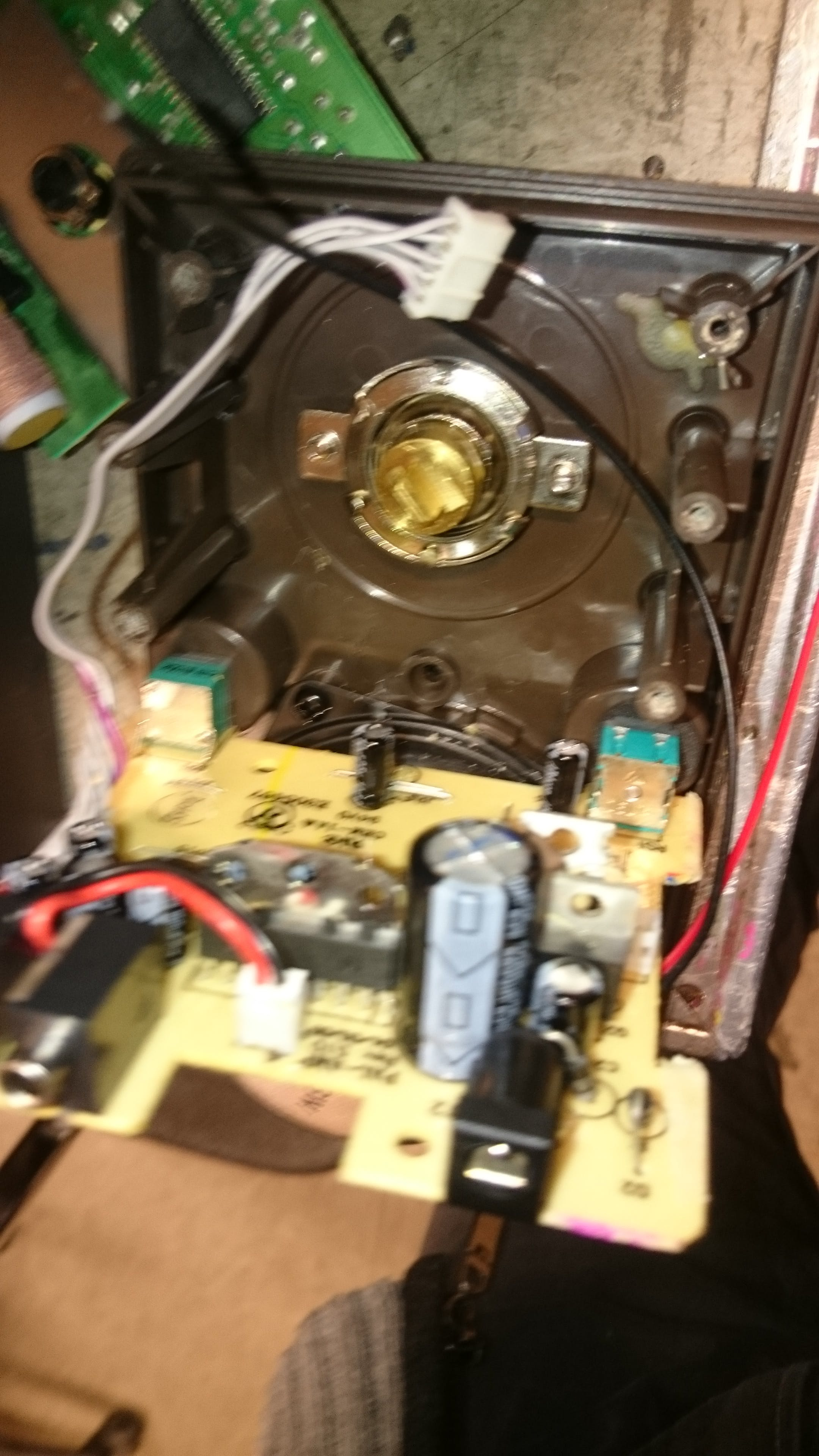 The inside of the radio with the tuner PCB removed