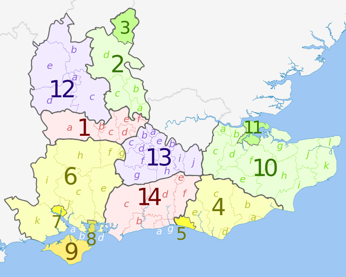 Map of South East England Counties