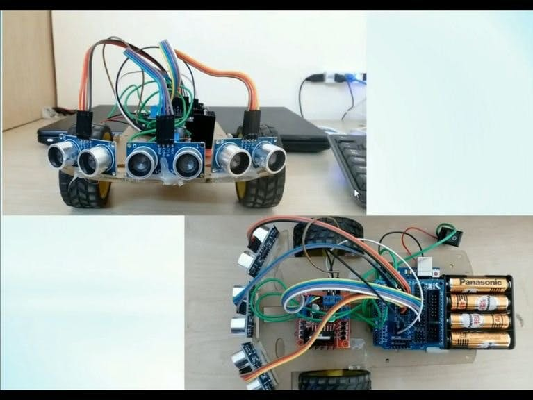 Obstacle Detection bot Using Ultrasonic Sensors and Arduino