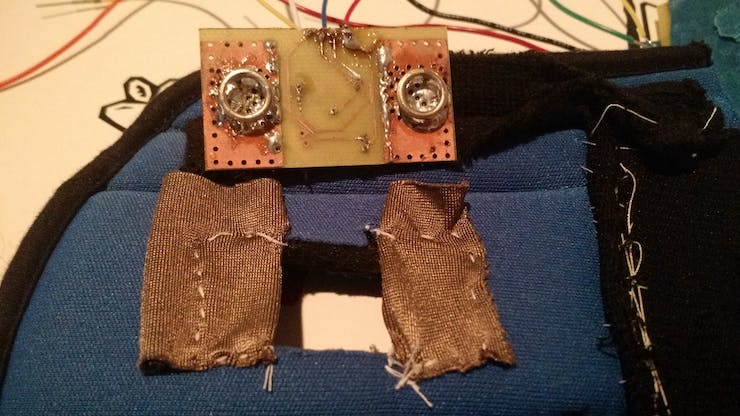 This is the conductive fabric and EMG