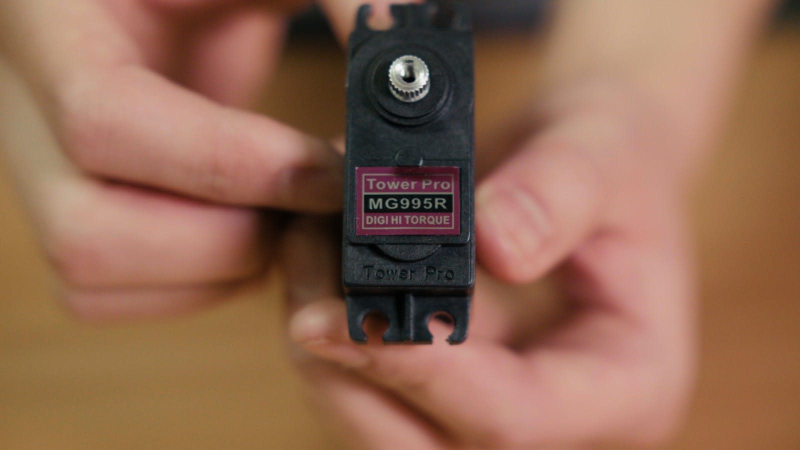 The Tower Pro MG995R high torque servo. This has since been replaced by Tower Pro MG996R.