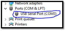 Screen snip showing the Devices Manager COM Port section when WisCore module is plugged in.