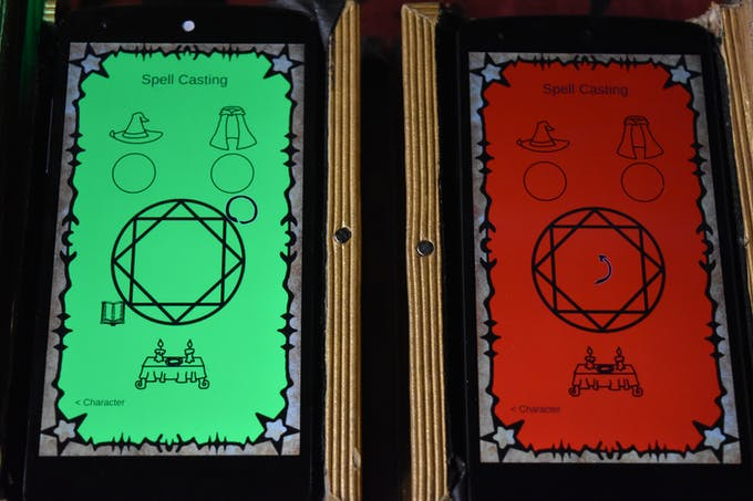 The spellbooks displaying navigation information, the colors are used for tracking in the dim environment