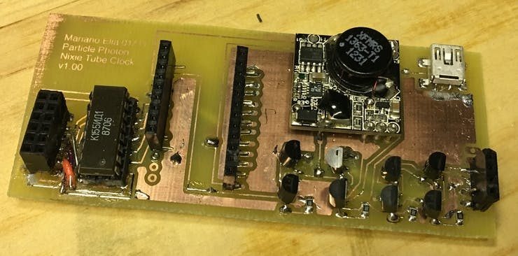 The failed etched prototype due to broken traces and faulty jumper wires