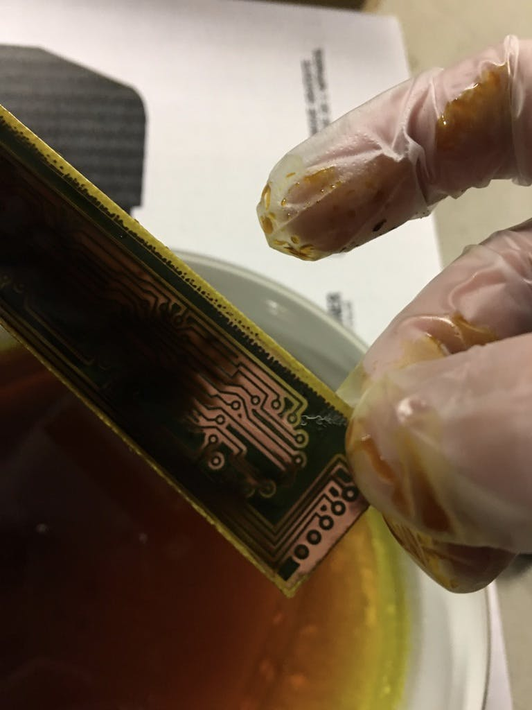 The etching process using Ferric Chloride