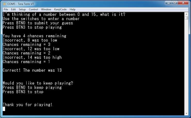 Guessing Game terminal dialogue
