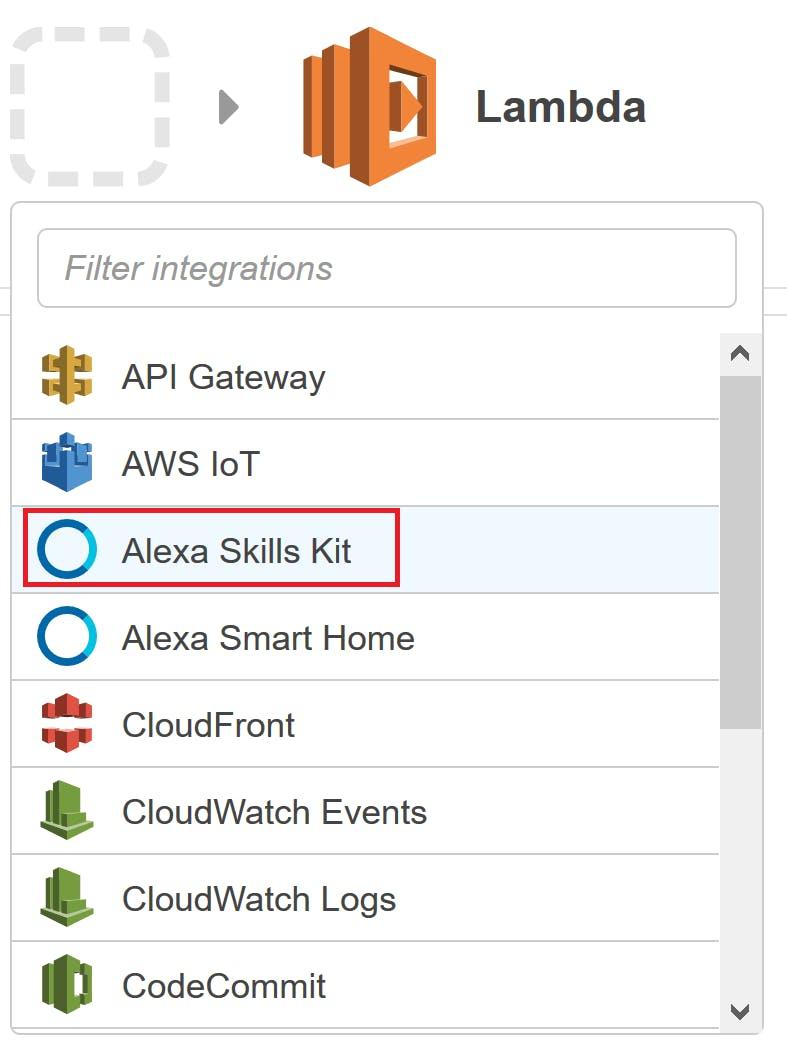 Selecting Alexa Skills Kit
