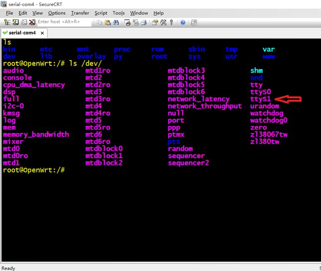 Terminal output showing the ttyS1 (UART1) /dev entry