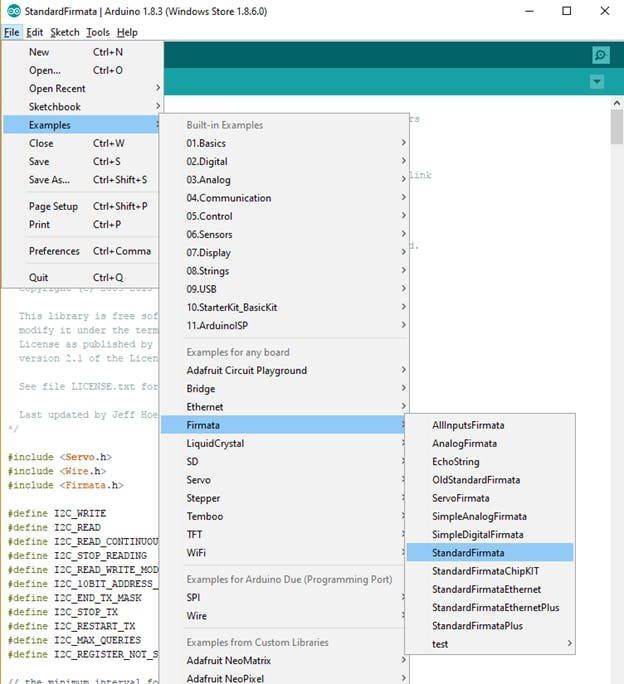 Arduino Menu showing the Firmata Example