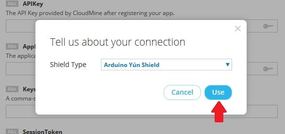 Choose Arduino Yun Shield and click Use