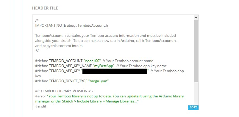 Copy the Header File code in Temboo