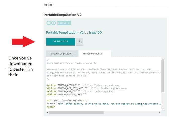 Paste the header file code into the TembooAccount.h file once you've downloaded it.