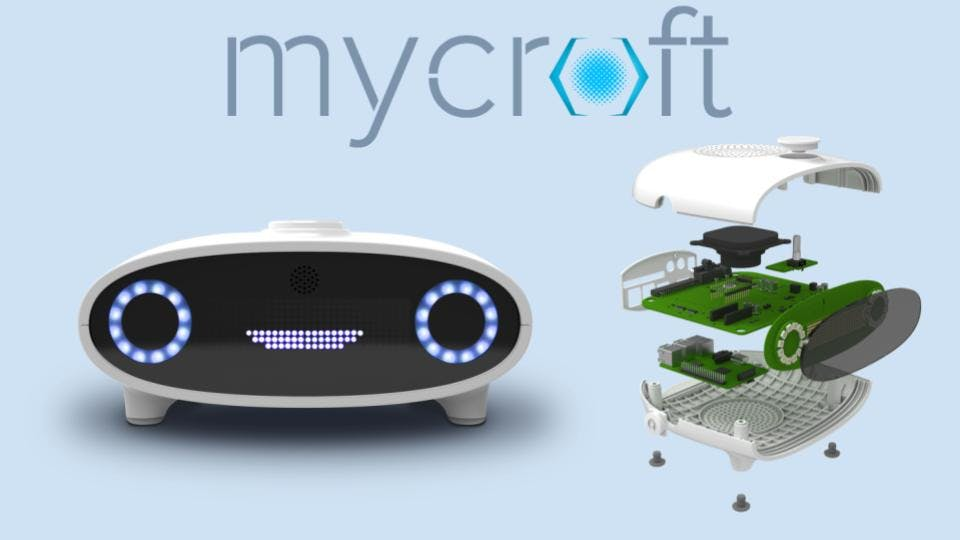 The Mycroft Mark 1 with exploded view on right showing a Raspberry Pi 2 at it's heart!