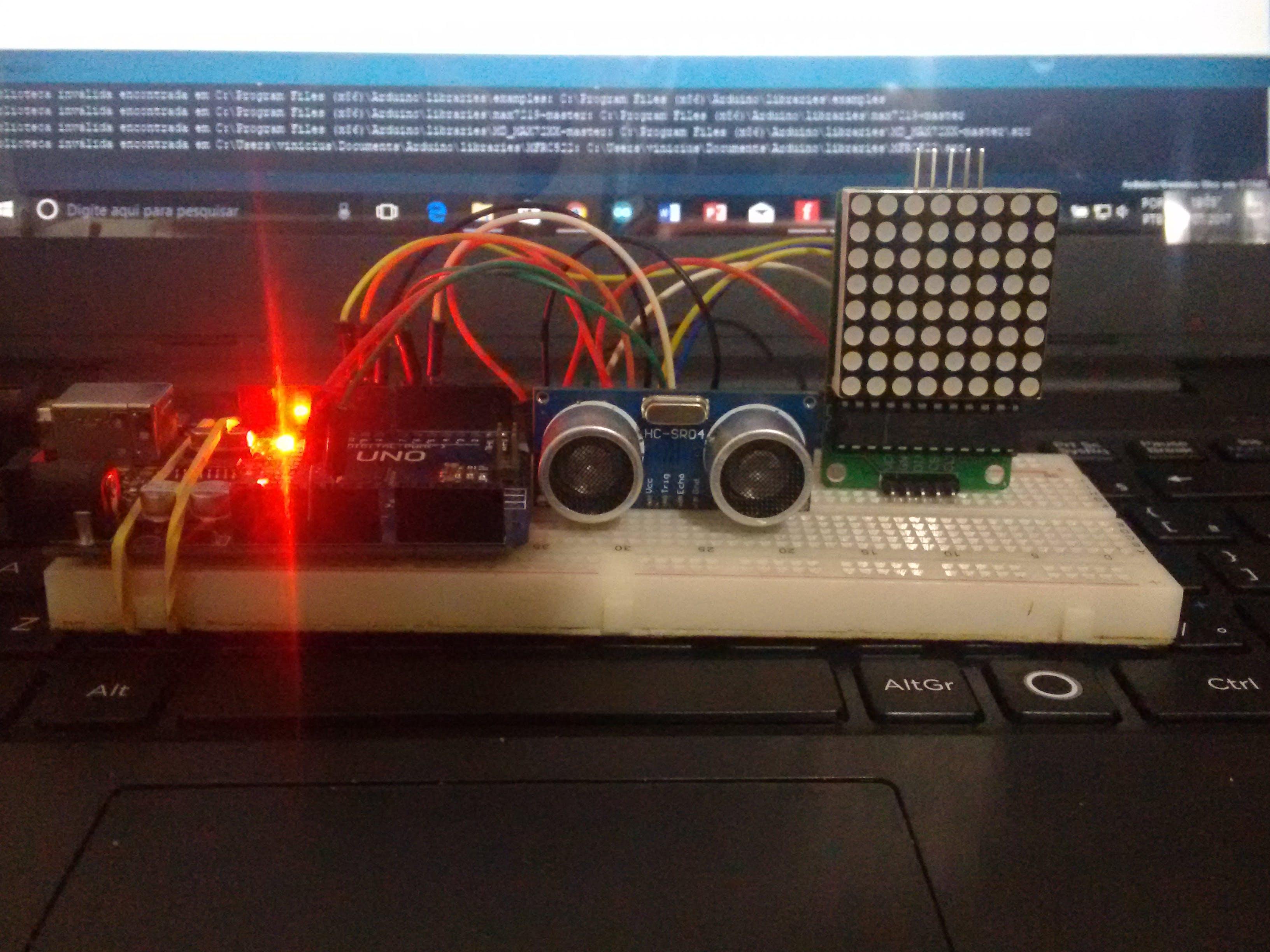 Arduino HC-04 and 8x8 Matrix MAX7219