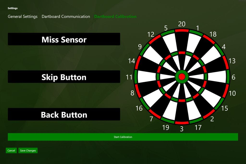 """Save Changes and go to """"Dartboard Calibration"""" and hit """"Start Calibration""""."""