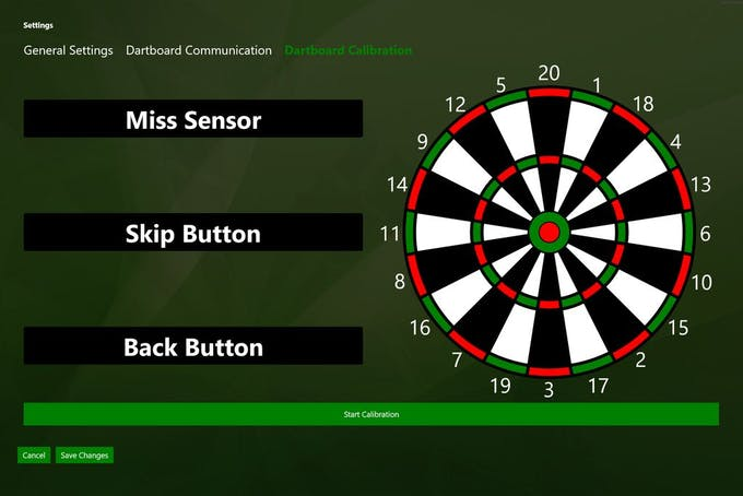 "Save Changes and go to ""Dartboard Calibration"" and hit ""Start Calibration""."
