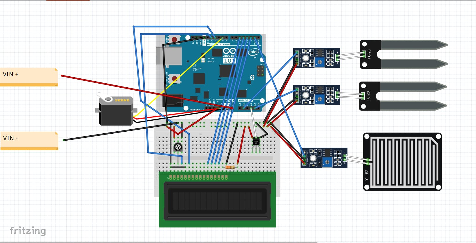 Circuit diagram for the device. Snapshot of Fritzing page.