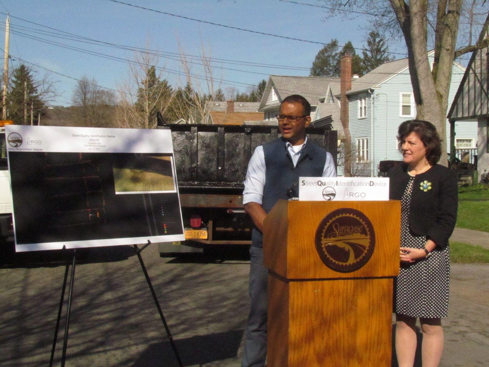 SQUID Project manager, Varun Adibhatla w/Syracuse, NY Mayor Stephanie Miner
