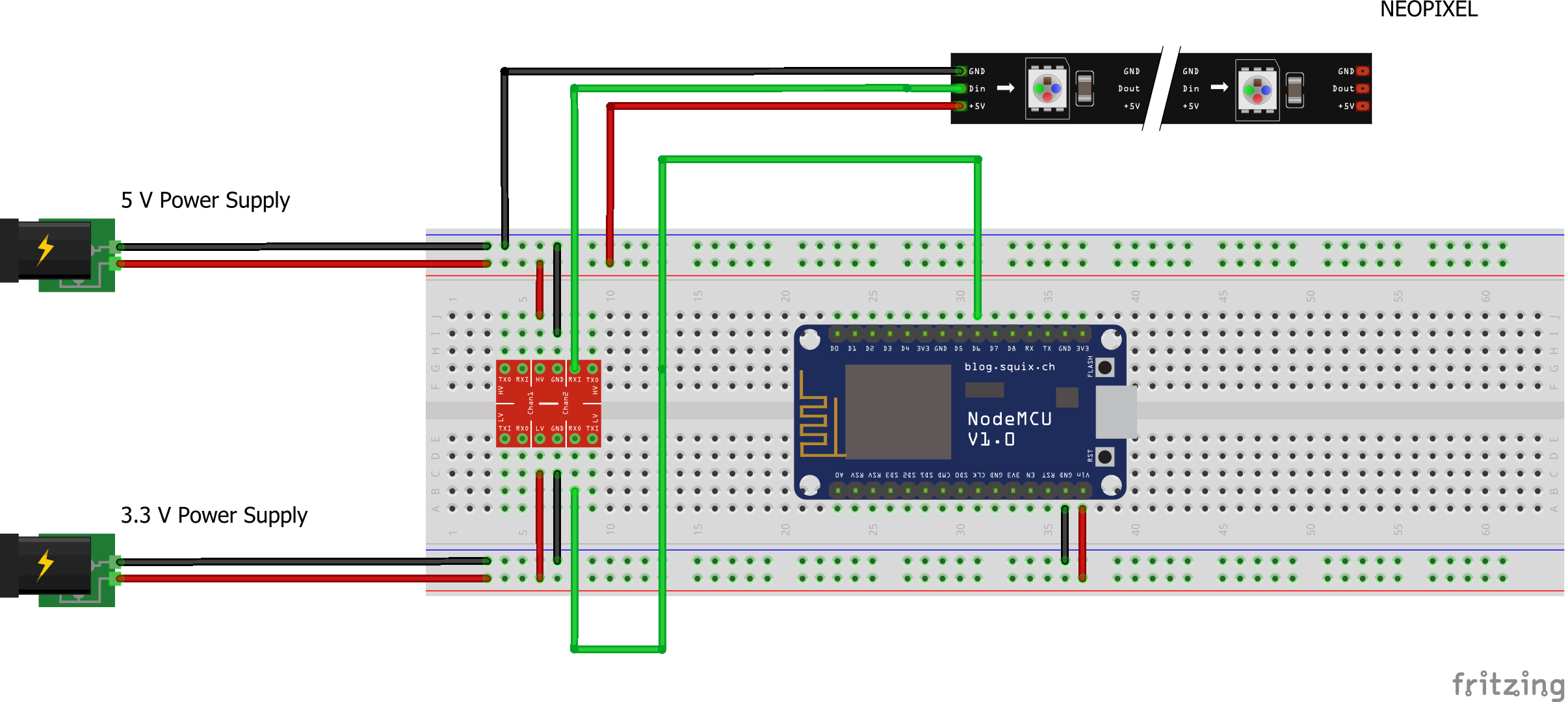 Controlling NeoPixels with a Webserver on an ESP8266