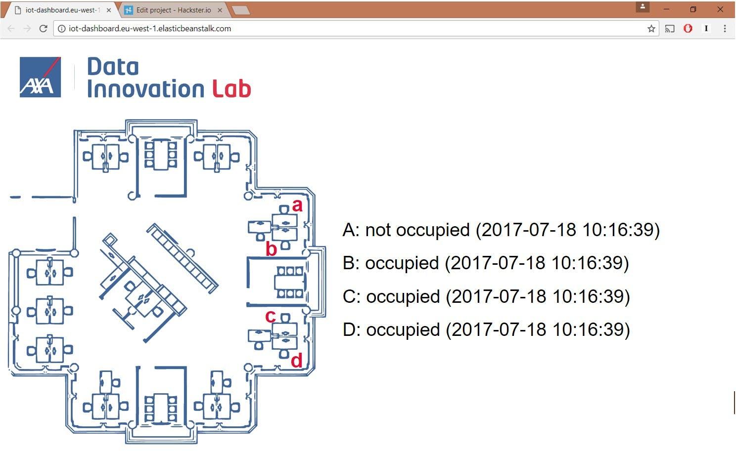 Web Application Indicating Current Desk Occupation