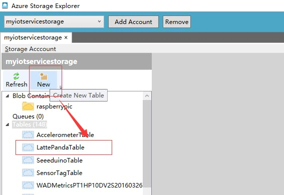 Figure 8. Create Azure Storage Table