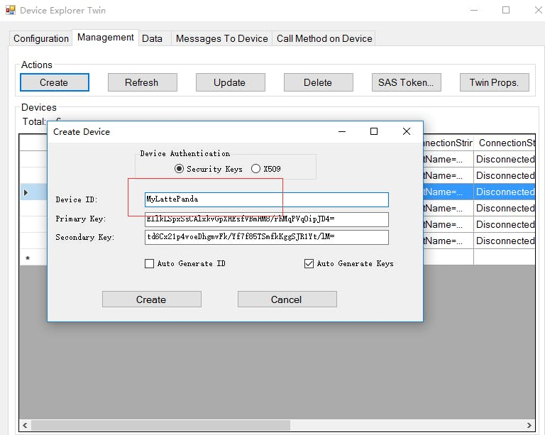 Figure 12. Create Device using Device Explorer