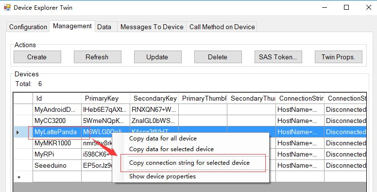 Figure 13. Copy connection string for selected device