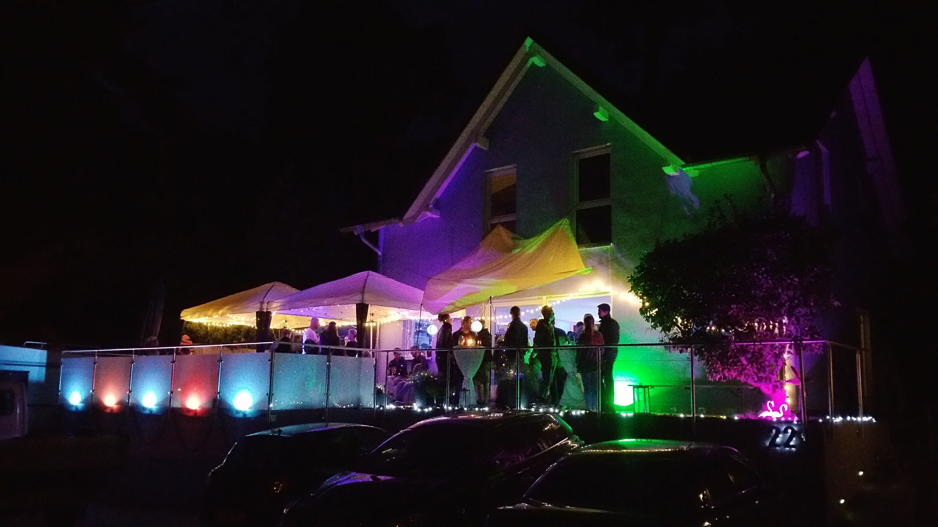 outdoor lights in action ( red/blue on left side of the picture)