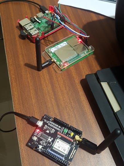 Raspberry Pi v3, RAK 831 module and a Lora Node