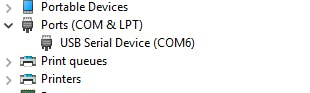com port as shown in a Windows system