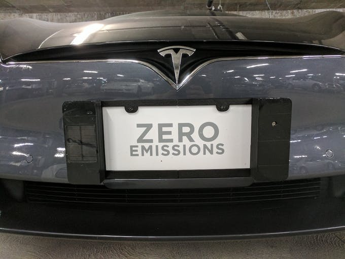 Testing Air Quality License Plate Holder on Tesla