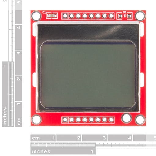 The 84x48 Nokia 5110 LCD mounted on a PCB.