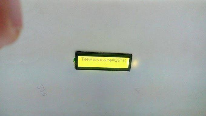 LCD displaying temperature